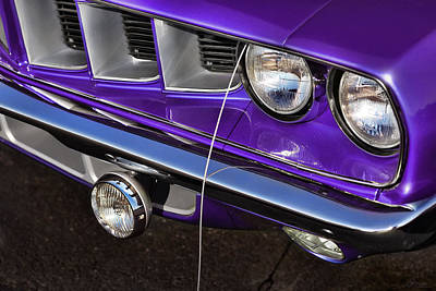 Digital Art - Plum Crazy 71 Cuda Headlight And Grille by Gordon Dean II
