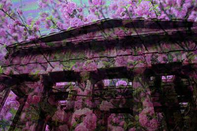 Digital Art - Plum Flower Columns by Donna Munro