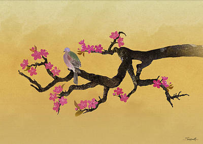 Pigeon Digital Art - Plum Tree And Pigeon by Spadecaller