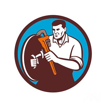 Plumber Brandishing Wrench Circle Retro Print by Aloysius Patrimonio
