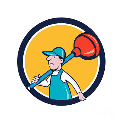 Plunger Digital Art - Plumber Carrying Plunger Walking Circle Cartoon by Aloysius Patrimonio