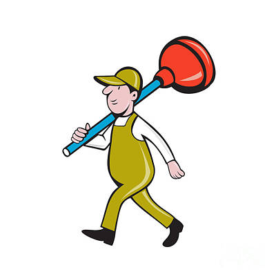 Plunger Digital Art - Plumber Carrying Plunger Walking Isolated Cartoon by Aloysius Patrimonio