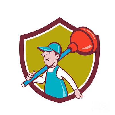 Plunger Digital Art - Plumber Carrying Plunger Walking Shield Cartoon by Aloysius Patrimonio