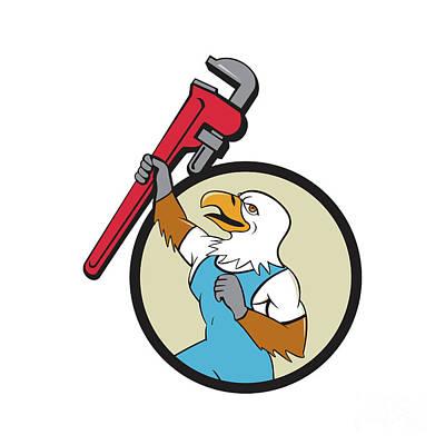 Raising Digital Art - Plumber Eagle Raising Up Pipe Wrench Circle Cartoon by Aloysius Patrimonio