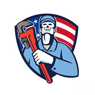 Plumber Holding Wrench Usa Flag Shield Retro Print by Aloysius Patrimonio