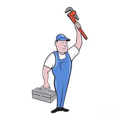 Raising Digital Art - Plumber Toolbox Raising Monkey Wrench Cartoon by Aloysius Patrimonio