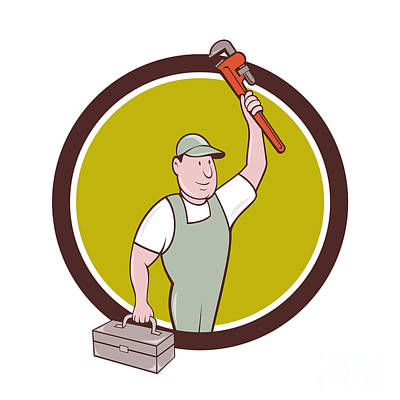 Raising Digital Art - Plumber Toolbox Raising Monkey Wrench Circle Cartoon by Aloysius Patrimonio