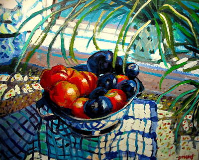 Fruit Bowl Window Painting - Plumbs And Nectarines by Brian Simons