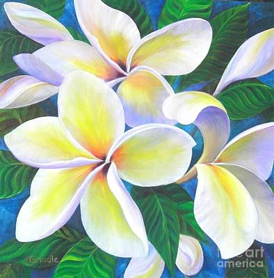 Plumeria Painting - Plumeria Blossoms by Jerri Grindle