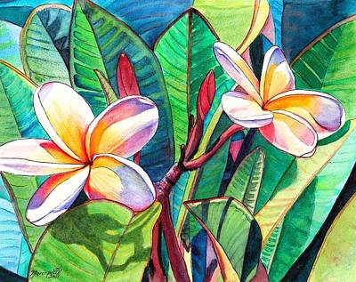 Tropical Flower Painting - Plumeria Garden by Marionette Taboniar