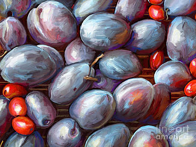Kosovo Painting - Plums And Beans by CR Leyland