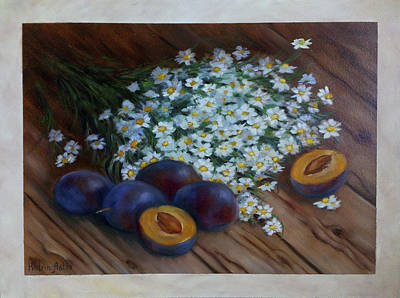 Cooks Illustrated Painting - Plums And Daisies by Katrin Aster