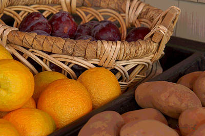 Potato Digital Art - Plums Potatoes And Oranges by Suzanne Gaff