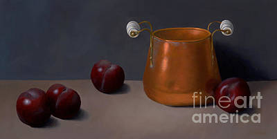 Cooper Pot Painting - Plums With Cooper Pot by Christa Eppinghaus