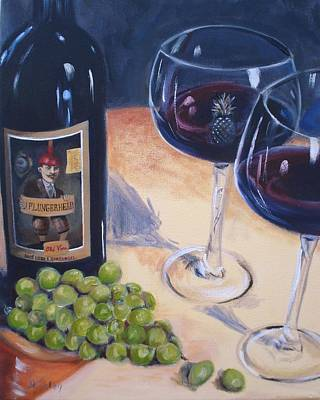 Realistic Wine Painting - Plungerhead by Donna Tuten