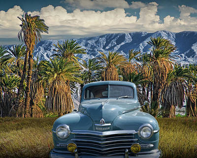 Photograph - Plymouth Automobile With Palm Trees And Cloudy Blue Sky Near Palm Springs by Randall Nyhof