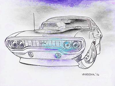 Plymouth Gtx American Muscle Car - Abstract Original