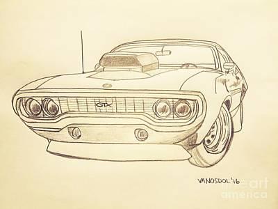 Plymouth Gtx American Muscle Car - Antique  Art Print
