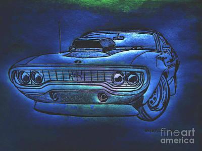Plymouth Gtx American Muscle Car - Blue Glow Original