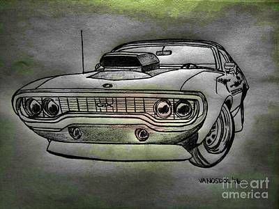 Plymouth Gtx American Muscle Car - Charcoal Background Art Print