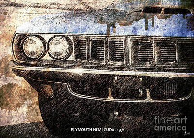 On Paper Digital Art - Plymouth Hemi Cuda 1971 by Pablo Franchi