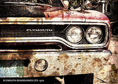 On Paper Digital Art - Plymouth Roadrunner Gtx 1970 by Pablo Franchi