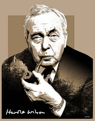 Wilson Digital Art - Pm Harold Wilson by Greg Joens