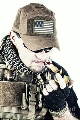 Pmc Photograph - Pmc Contractor Smoking A Cigar by Oleg Zabielin