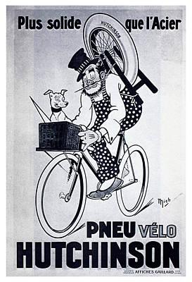Mixed Media - Pneu Velo Hutchinson - Vintage Tyre Advertising Poster by Studio Grafiikka