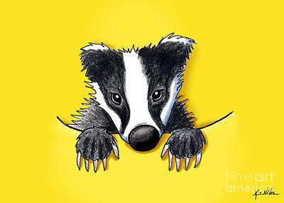 Kim Drawing - Pocket Badger by Kim Niles