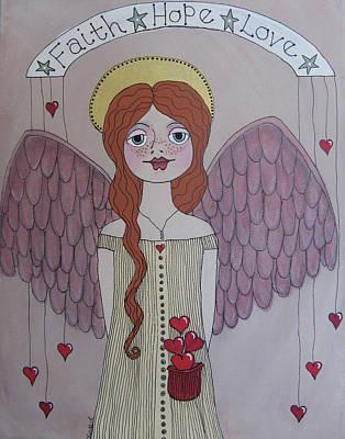 Painting - Pocket Full Of Love Angel 2 by Linda Tetmyer