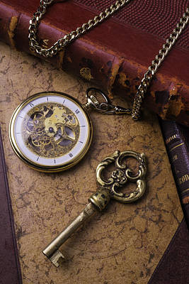 Gold Chain Photograph - Pocket Watch And Old Key by Garry Gay