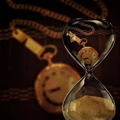 Time Photograph - Pocket Watch And Sandglass by Susan Candelario