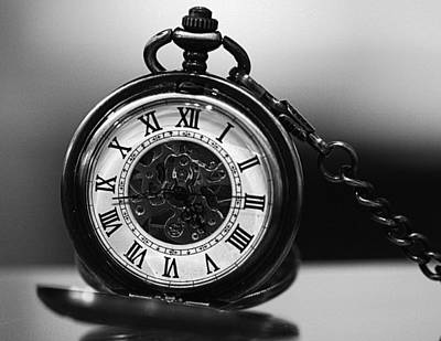 Photograph - Pocket Watch - Black And White by Joseph Skompski