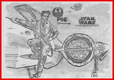Drawing - Poe Dameron by Chris  DelVecchio