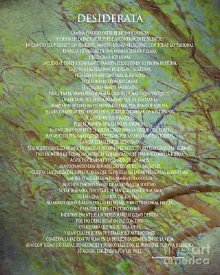 Painting - Poema Desiderata En Espanol Sobre Arbol - Original Artwork By Claudia Ellis by Claudia Ellis