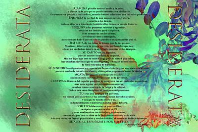 Painting - Poema Desiderata En Espanol Sobre Un Trabajo Original De Claudia Ellis by Claudia Ellis