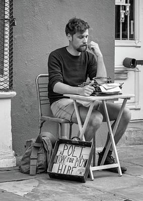 Poet For Hire Bw Art Print by Steve Harrington