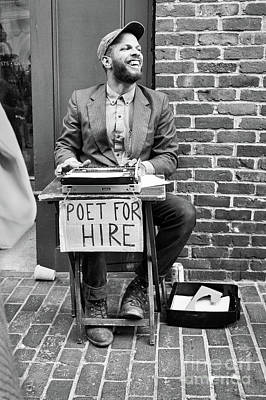 Photograph - Poet For Hire, Portland, Maine  -31172-bw by John Bald