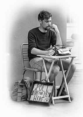 Poet For Hire - Vignette Bw Art Print