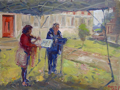 Poetry Wall Art - Painting - Poetry And Violin by Ylli Haruni