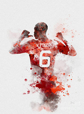 Red Devil Mixed Media - Pogba by Rebecca Jenkins