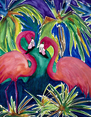 Painting - Poin And Settia Dine At The Palm by Dale Bernard