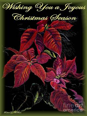 Drawing - Poinsetta Christmas Card by Robert D McBain