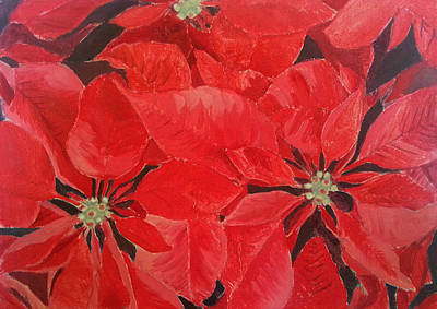 Poinsettia Painting - Poinsettia by Angelina Sofronova