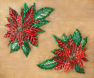 Bead Embroidery Tapestry - Textile - Poinsettia Bead Embroidery 2 by Sofia Metal Queen