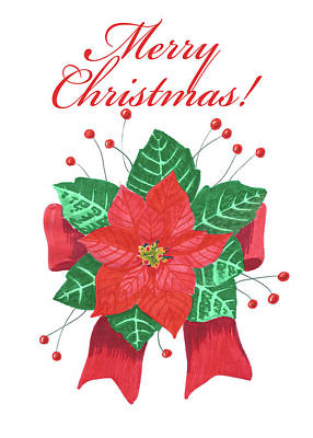 Painting - Poinsettia Christmas Card by Masha Batkova