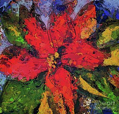 Painting - Poinsettia Christmas Flower by Dragica Micki Fortuna