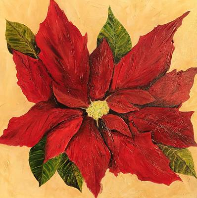 Painting - Poinsettia Christmas Flower by Chuck Gebhardt