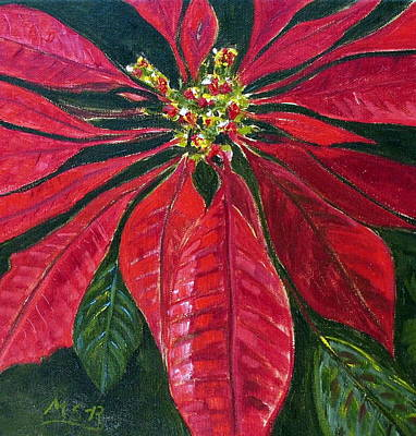 Poinsettia Closeup Art Print by Maria Soto Robbins